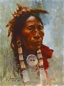"""Howard Terpning 90th Birthday Series Limited Edition Canvas Giclee:""""Sioux Flag Carrier - Available June 5, 2018"""" """""""
