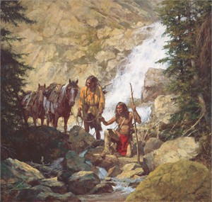 """Howard Terpning Hand Signed and Numbered Limted Edition Giclee Canvas:""""The Trackers"""""""