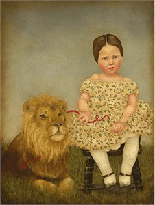 "Emily McPhie Handsigned and Numbered Fine Art Giclée Canvas:""Serena and Her Lion"""