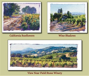 "June Carey Handsigned & Numbered Limited Edition  (Suite of 3 Prints):""Studies of...Wine Country California"""