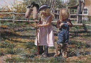"Steve Hanks Handsigned & Numbered Limited Edition Canvas Giclee:""Country Girls"""