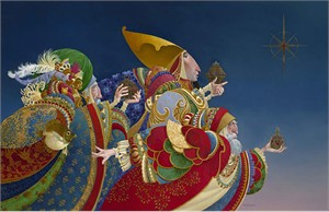 "James Christensen Artist Signed Limited Edition Canvas w/ Gold Leaf:""We Three Kings"""