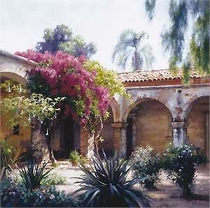 "June Carey Handsigned & Numbered Limited Edition Canvas:""Bougainvillea"""