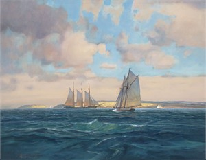 "Paul Landry Handsigned and Numbered Limited Edition Canvas:""Sailing Home"""