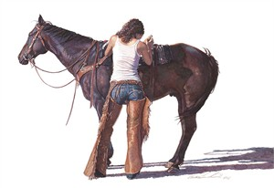 """Steve Hanks Hand Numbered Limited Edition Canvas Giclee: """"Saddling Up"""""""