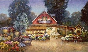 "Paul Landry Limited Edition Print: ""Evening at The Flower Market"""