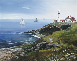 "Sally Caldwell Fisher Handsigned and Numbered Limited Edition Canvas : ""Portland Head Lighthouse"""