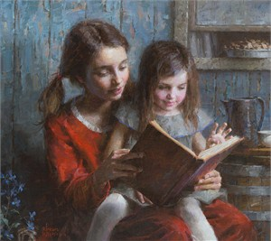 "Morgan Weistling Handsigned and Numbered Limited Edition Giclee on Canvas:""Sister Stories"""