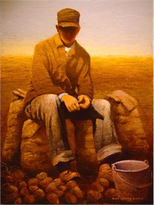 "Gary Ernest Smith Open Edition Gallery Wrap Canvas Giclee:""Waiting for Potato Truck"""