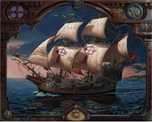 """Dean Morrissey Handsigned and Numbered Limited Edition Giclee on Canvas: """"The Voyage of the Fianna"""""""
