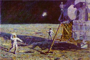 "Alan Bean Limited Edition Lithograph Print on Paper : "" Lone Star """