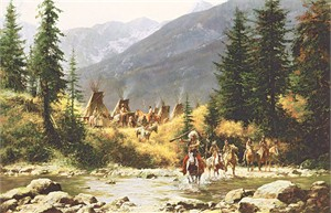 "Howard Terpning Signed and Numbered Limited MasterWork ™ Canvas Giclee: ""Crow Country"""