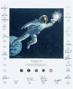 "Alan Bean 24 Astronaut Counter Signed  Limited Edition Textured Canvas Giclee :""Reaching For The Stars """