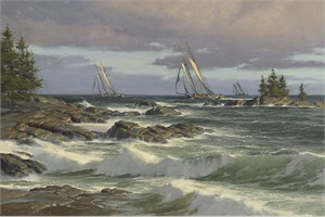 "Don Demers Handsigned & Numbered Limited Edition Giclee on Canvas:""The Windswept Coast"""