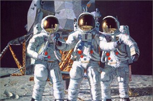 "Alan Bean Limited Edition Lithograph Print on Paper: ""Conrad Gordon And Bean:The Fan """