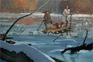 "John Buxton Limited Edition Canvas:""Washington Crossing 1753"""