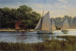 "Donald Demers Hand Signed & Numbered Limited Edition Giclee on Canvas:"" By the Old Boat House"""