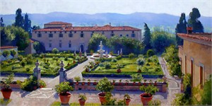 """June Carey Hand Signed & Numbered Limited Edition Canvas Giclee:""""Villa di Castello"""""""