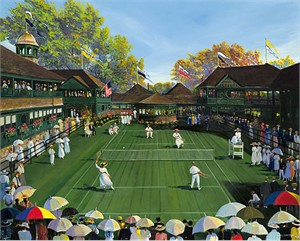 """Sally Caldwell Fisher Hand Signed & Numbered Limited Edition Canvas:""""Newport Tennis"""""""
