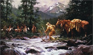 "Howard Terpning Signed and Numbered Limited Edition Artist Proof Canvas:""They Came from Nowhere"""