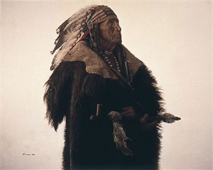 """James Bama Handsigned and Numbered Limited Edition Giclee on Canvas:""""Crow Indian with Peace Pipe"""""""