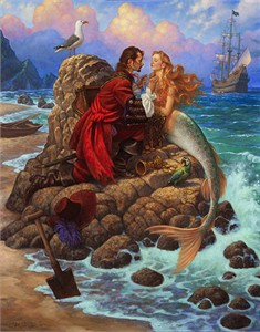 """Scott Gustafson Handsigned and Numbered Limited Edition Print:""""The Pirate and the Mermaid"""""""