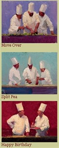 """Ken Auster Handsigned & Numbered Limited Edition Canvas Suite of 3:""""The Chef Suite """""""