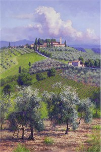 """June Carey Hand Signed & Number Limited Edition Giclee on Canvas:""""Oil Trees of Chianti"""""""