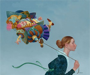 """James Christensen Hand Signed & Number Limited Edition Print:""""Poofy Guy on a Short Leash"""""""