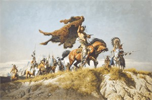 "Frank McCarthy Hand Numbered Limited Edition Canvas Giclee:""Buffalo Robe Signal"""