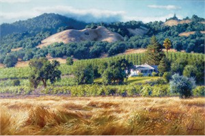 "June Carey Handsigned & Numbered Limited Edition Giclee on Canvas:""Alexander Valley Winery"""