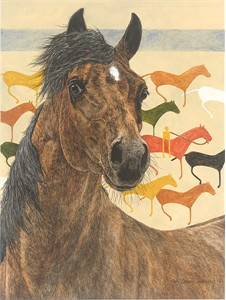 "Judy Larson Handsigned and Numbered Limited Edition Canvas Giclee:""Elk Dog Tipi"""