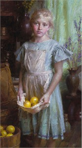 "Morgan Weistling Handsigned & Numbered Limited Giclee on Canvas:""Lemon Girl"""