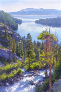 "June Carey Handsigned and Numbered Fine Art Giclée Canvas:""Cascade of Light, Emerald Bay, Lake Tahoe """