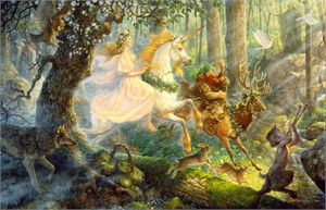 "Scott Gustafson Limited Edition Print:""The Maiden And The Unicorn"""