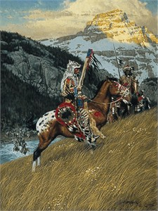 "Frank C. McCarthy Hand Numbered Fine Art Anniversary Giclée Canvas:""Blackfoot Raiders"""