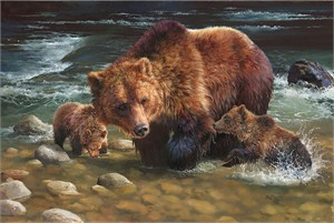 "Bonnie Marris Handsigned and Numbered Limited Edition Giclee Canvas: ""Testing the Waters"""
