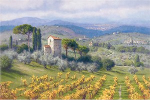 "June Carey Handsigned and Numbered Limited Edition Giclee on Canvas:""Above Florence"""