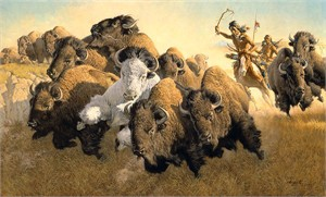 "Frank Mccarthy  Hand Numbered Limited Edition Giclee on Canvas:""In Pursuit of the White Buffalo"""
