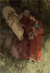 """Z.S. Liang Hand Signed and Numbered Limited Edition Canvas Giclee""""Beneath the Cottonwoods"""""""