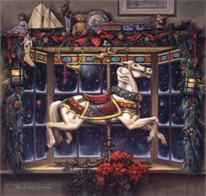"Paul Landry Limited Edition Print:""Christmas Carousel Pony"""