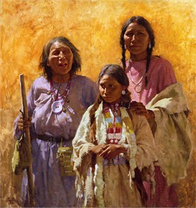 "Howard Terpning Handsigned & Numbered Limited Edition Giclee on Canvas:""Three Generations """