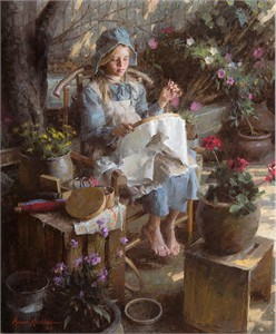 "Morgan Weistling Handsigned and Numbered Limited Edition Giclee on Canvas:""The Needlepoint Artist"""