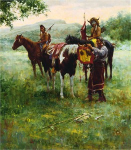 "Howard Terpning Handsigned & Numbered Limited Edition Giclee on Canvas:""Medicine Horse Mask """