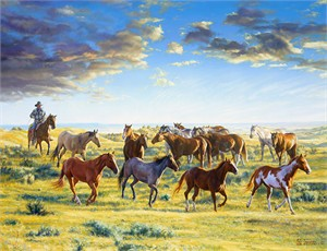 "Bob Coronato Handsigned and Numbered Limited Edition Giclee on Canvas:""The Horse Wrangler.."""