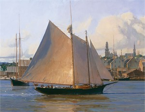"Christopher Blossom Handsigned and Numbered Limited Edition Premiere Giclee on Canvas:""Afternoon Arrival, Gloucester"""