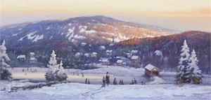 "Paul Landry Handsigned and Numbered Limited Edition Giclee on Canvas:""New England Winter"""