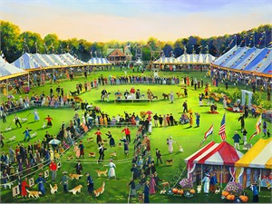 "Sally Caldwell Fisher Handsigned and Numbered Limited Edition Giclee on Canvas:""The Dog Show"""