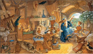 """Scott Gustafson Handsigned and Numbered Limited Edition Giclee on Canvas:""""Merlin and Arthur """""""