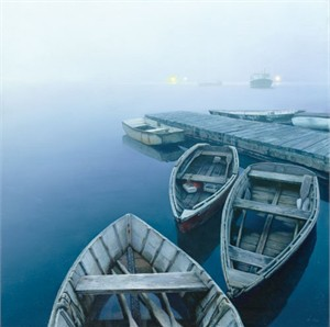 "Mo DaFeng Handsigned and Numbered Limited Edition Giclee on Canvas:""Evening with Approaching Fog """